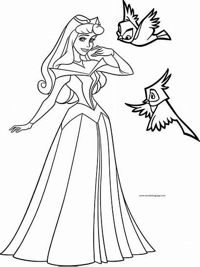 Aurora Princess Coloring Disney Birds Pages Wecoloringpage