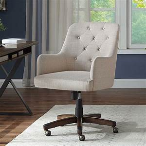 Better, Homes, U0026, Gardens, Tufted, Office, Chair, Natural, Fabric, Upholstery, And, Espresso, Wood, Base