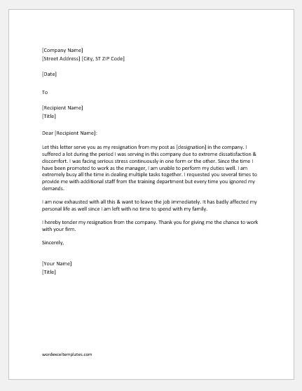 Resignation Letter Due to Job Dissatisfaction | Word