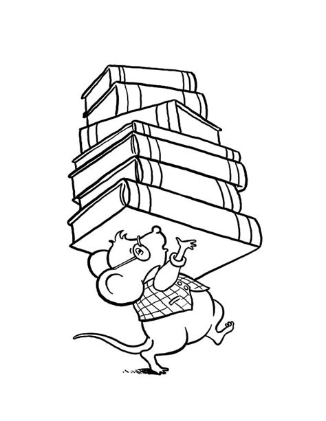 library coloring pages library mouse brought lot of book at library coloring