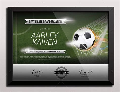 sports certificate templates  word  documents