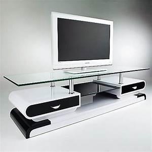Meuble Tv Design Blanc Laqué : meuble tv monza tele lcd plasma laque noir blanc meuble tv topkoo ~ Teatrodelosmanantiales.com Idées de Décoration