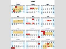 Yearly A4 Printable Calendar 2019 With Chinese Holidays