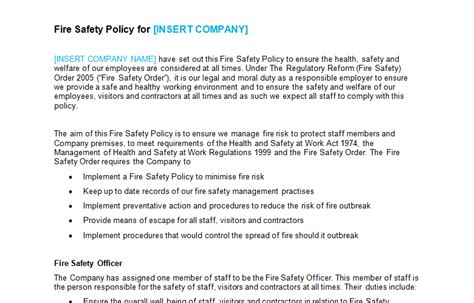 ehs policy template fire safety bizorb