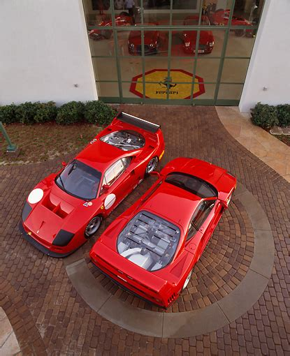 All f40s from the factory were red. overhead - Car Stock Photos - Kimballstock