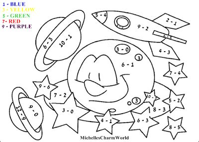 fun  learning subtraction coloring sheet