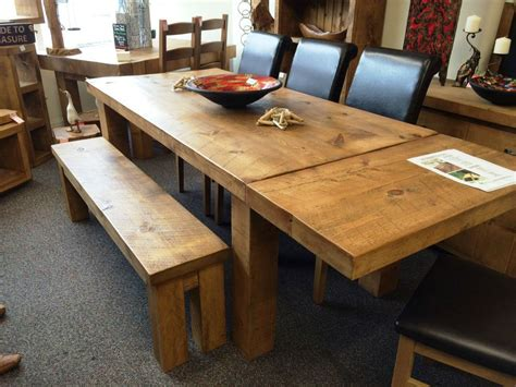 rustic chunky extending dining table solid wood plank