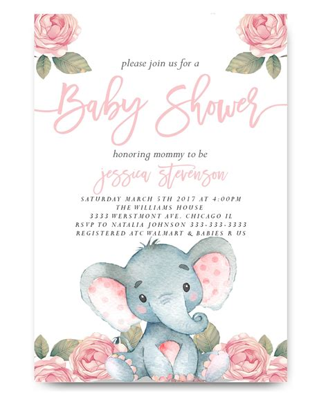 elephant baby shower invitation pink floral elephant