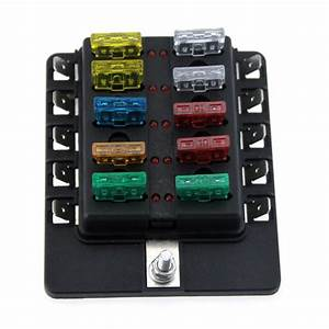 10 Way Boat Car Blade Fuse Box Holder Truck Rv Vehicle