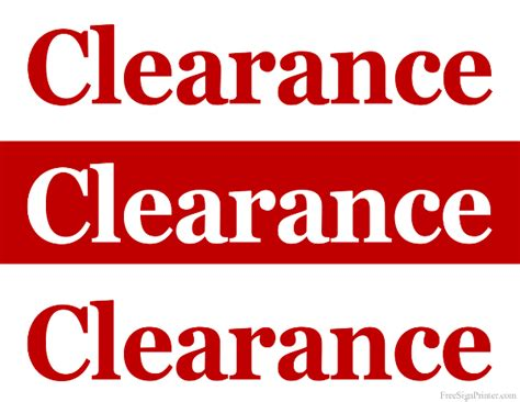 sale signs printable printable clearance sale sign
