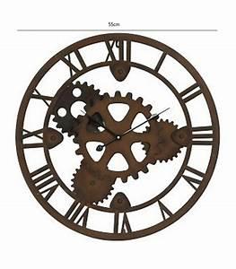 Horloge En Metal : horloge murale ronde en m tal rouille rouages diam tre 55cm ~ Teatrodelosmanantiales.com Idées de Décoration