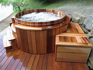 Jacuzzi En Bois : jacuzzi exterieur bois rond ~ Nature-et-papiers.com Idées de Décoration