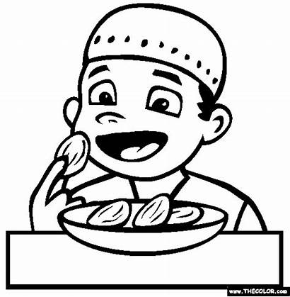 Coloring Eating Ramadan Dates Pages Sheets Colouring