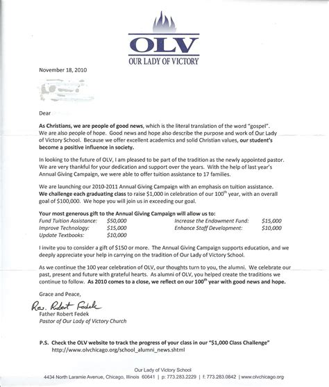 alumni solicitation letter with reply shipping label