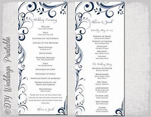 wedding program template navy blue instant download With order of wedding ceremony