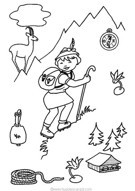 coloriage scout montagne sur hugolescargot