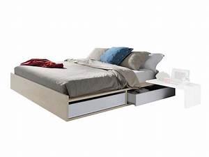 Lit 160 Tiroir : lit 160 tiroir rangement table de lit ~ Teatrodelosmanantiales.com Idées de Décoration