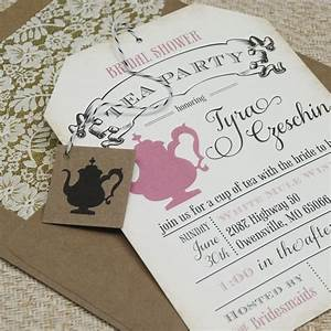 bridal shower tea party invitations vintage bridal With tea party wedding shower invitations