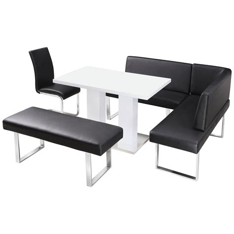 Black And White Dining Table Set by High Gloss Dining Table And Chair Set With Corner Bench