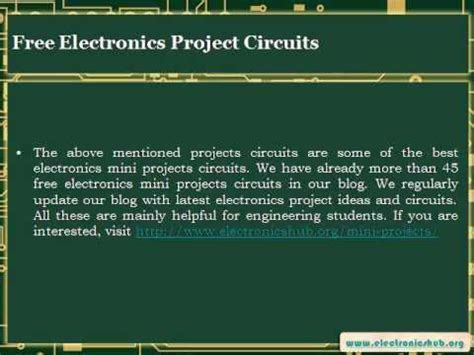 Free Electronics Mini Projects Circuits For Engineering