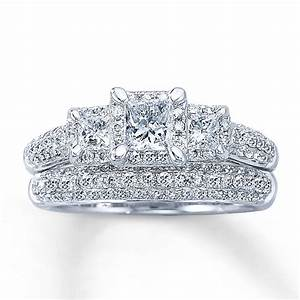 Kay diamond bridal set 1 1 3 ct tw princess cut 14k for Wedding ring sets white gold