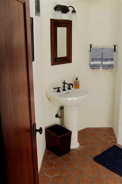 small spanish bathroom  pedestal sink mediterranean bathroom santa barbara  santa