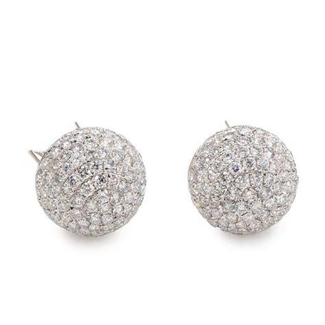 pave jewelry earrings 18k white gold diamond pave earrings ced7660 luxury bazaar www luxurybazaar com