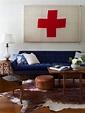 Blue Velvet Sofa - Eclectic - living room - Emily Henderson