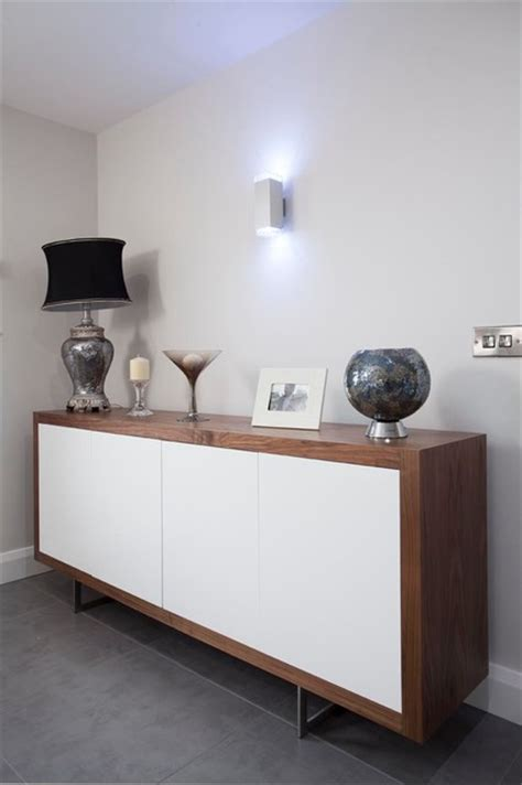 walnut high gloss white sideboard contemporary