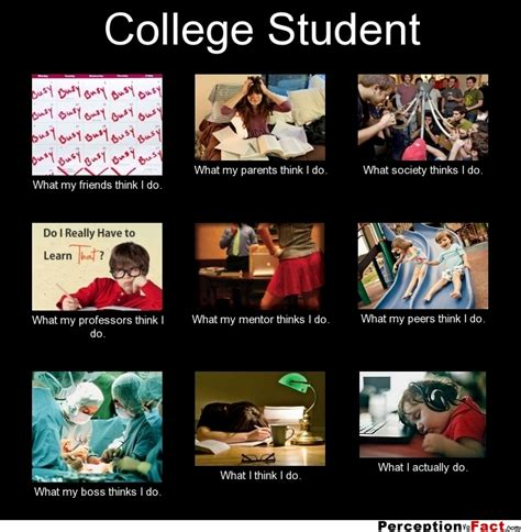 Uni Student Memes - college student what people think i do what i really do perception vs fact