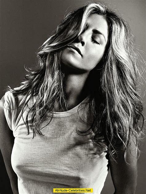Jennifer Aniston no bra and hard nipples black-&-white scans