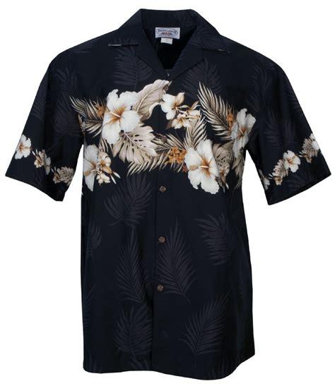 Big Hibiscus Palm Mens Hawaiian Aloha Shirt in Black, Mens ...