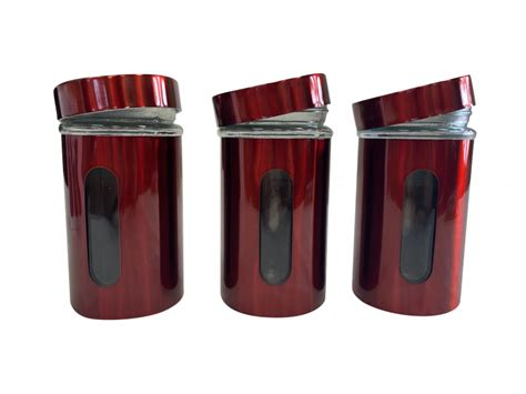 Free delivery and returns on ebay plus items for plus members. SET OF 3 RED KITCHEN TEA COFFEE CANISTER STAINLESS STEEL STORAGE POTS 900ML | eBay
