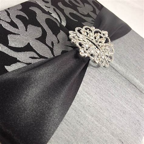 Black + Silver Brocade Silk Wedding Folio Invitation
