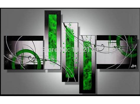 Black White And Green by Handmade 5 Black White Green Modern Abstract
