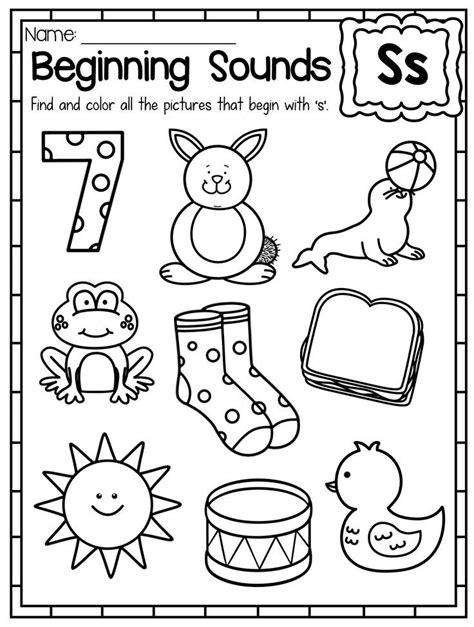 beginning sounds worksheets color by sound kinder