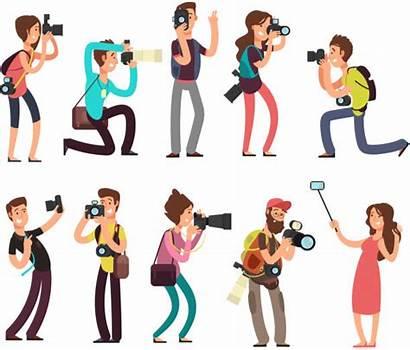 Photographer Cartoon Funny Camera Taking Vector Professional