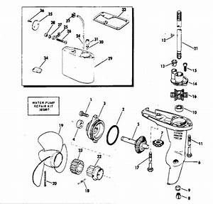 Evinrude Gearcase Parts For 1972 2hp 2202m Outboard Motor