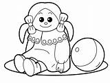 Coloring Doll Toys Pages Toy sketch template
