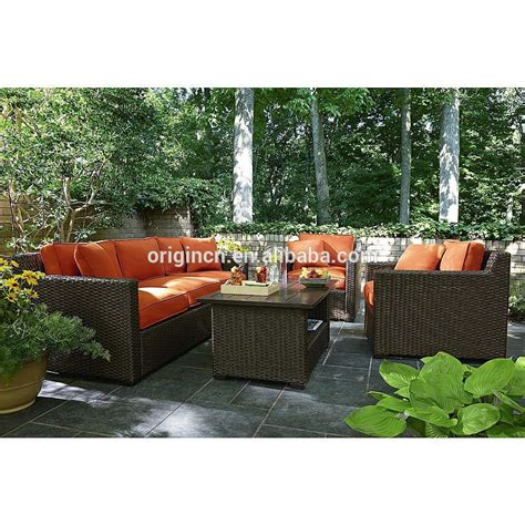 orange color rattan sectional sofa set patio furniture