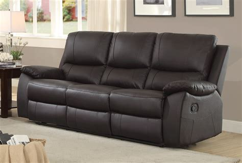tan leather reclining sofa homelegance greeley top grain brown leather double