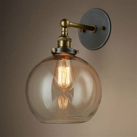 Vintage Bronze Swing Arm Indoor Glass Sconce Wall Lamp