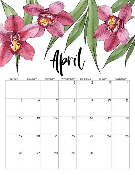 printable calendar floral paper trail design