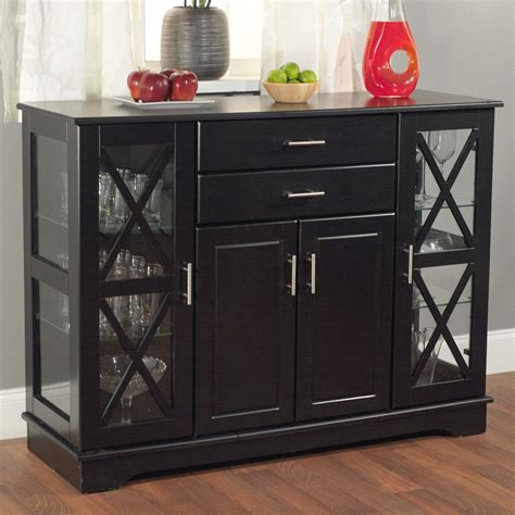 Sideboards With Glass Doors by Black Wood Buffet Dining Room Sideboard With Glass Doors
