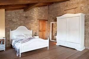 letto provenzale: legno bianco, ferro battuto