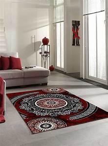 Tapis Salon Moderne : tapis salon new florida 4 gris et rouge ~ Teatrodelosmanantiales.com Idées de Décoration