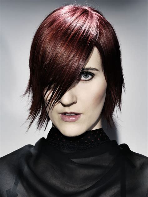 goth inspired short hairstyle   slender shape