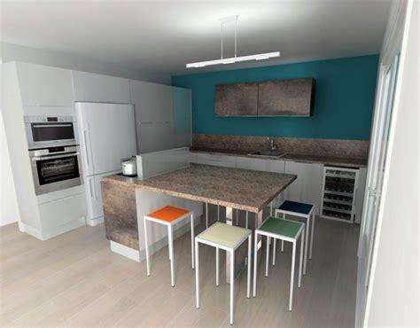peindre carrelage plan de travail cuisine cuisine blanche mur bleu canard