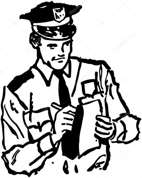 11589 policeman clipart black and white policeman writing ticket stock vector 169 retroclipart