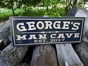 Man, Cave, Personalized, Wooden, Carved, Sign, Father, U0026, 39, S, Day, Gift